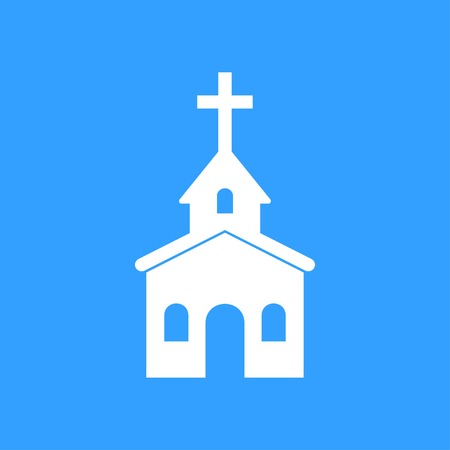 Church vector icon. White Illustration isolated on blue background for graphic and web design.