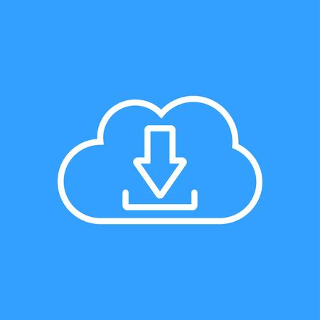 Cloud download vector icon. White Illustration isolated on blue background for graphic and web design. Illustration