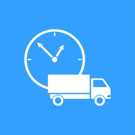 Fast delivery vector icon. White Illustration isolated on blue background for graphic and web design.