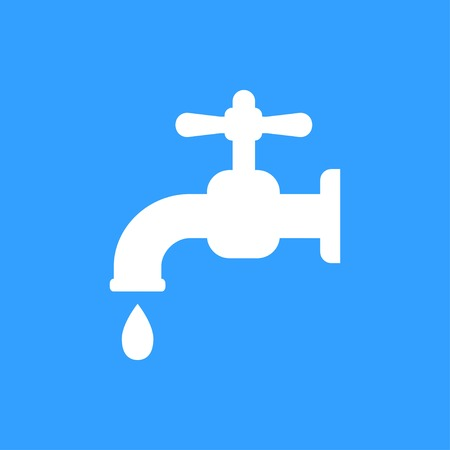 Faucet vector icon. White Illustration isolated on blue background for graphic and web design. Illustration