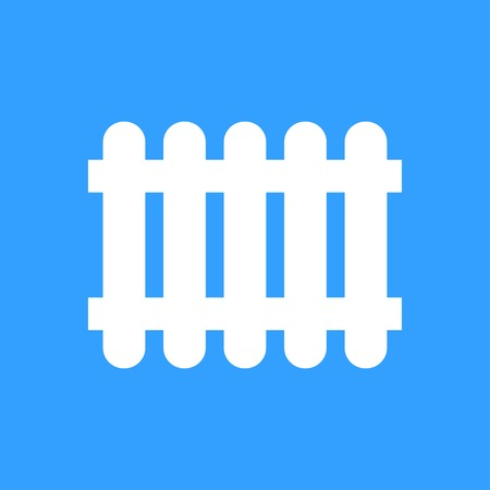 Fence vector icon. White Illustration isolated on blue background for graphic and web design.