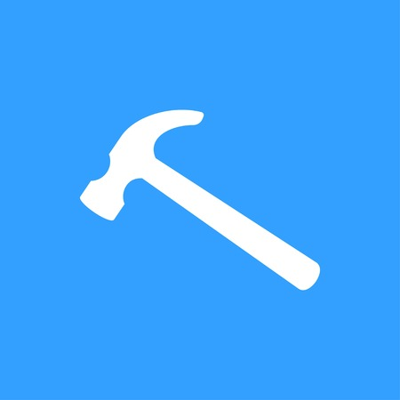 Hammer vector icon. White Illustration isolated on blue background for graphic and web design.