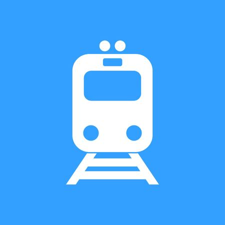 locomotion: Metro vector icon. White Illustration isolated on blue background for graphic and web design.