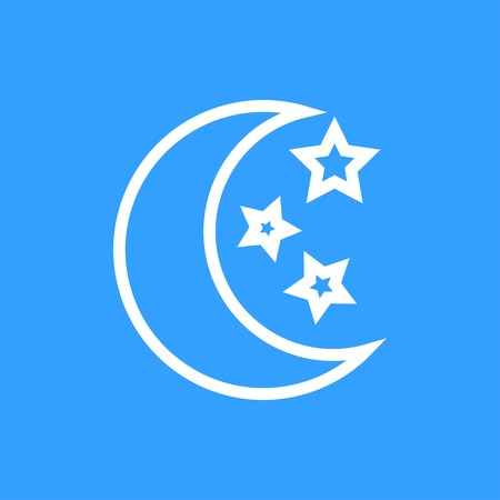 Moon star vector icon. White Illustration isolated on blue background for graphic and web design.