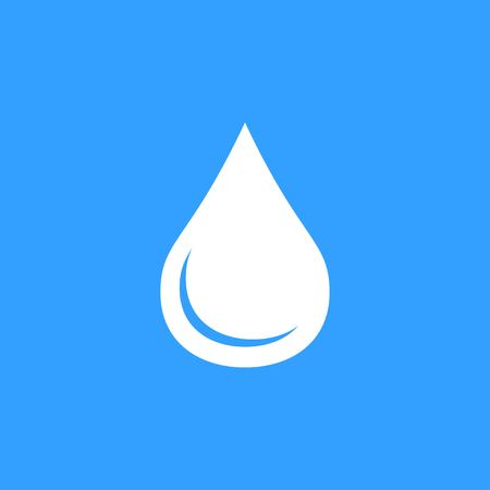 petroleum blue: Oil vector icon. White Illustration isolated on blue background for graphic and web design.