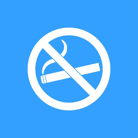 smoldering: Smoke vector icon. White Illustration isolated on blue background for graphic and web design. Illustration