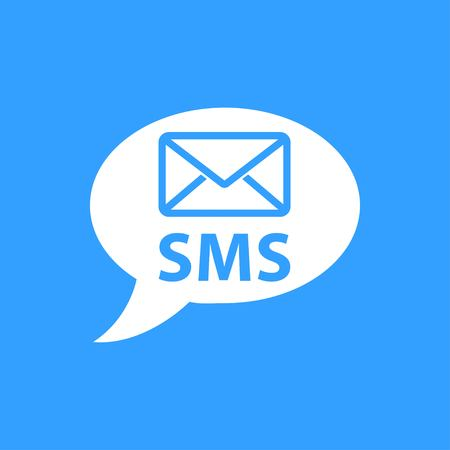 SMS vector icon. White Illustration isolated on blue background for graphic and web design. Illustration