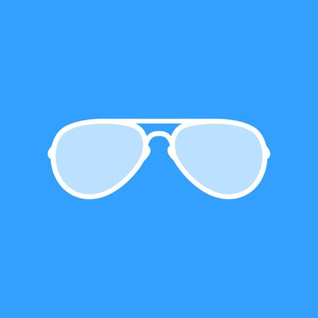 Sunglasses vector icon. White Illustration isolated on blue background for graphic and web design. Vettoriali