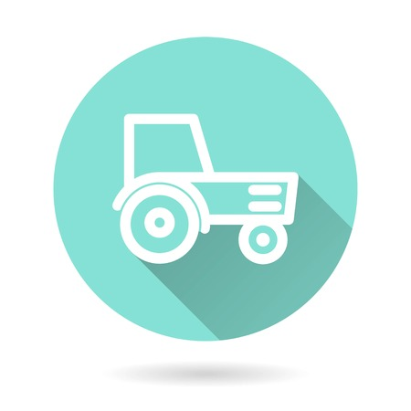 Tractor vector icon. White Illustration isolated on green background for graphic and web design. Illustration