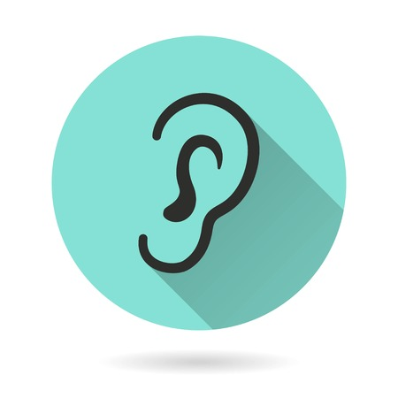 audible: Ear vector icon. Black Illustration isolated on green background for graphic and web design.