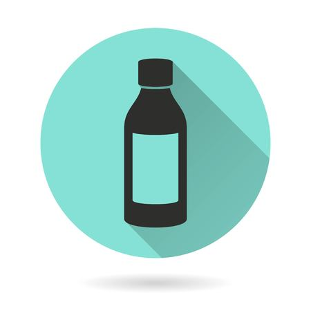 a substance vial: Medicine bottle vector icon. Black Illustration isolated on green background for graphic and web design.