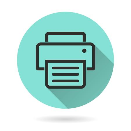 Printer vector icon. Black Illustration isolated on green background for graphic and web design.