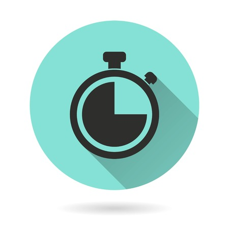 Stopwatch vector icon. Black Illustration isolated on green background for graphic and web design.