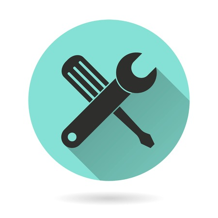 Tool vector icon. Black Illustration isolated on green background for graphic and web design.