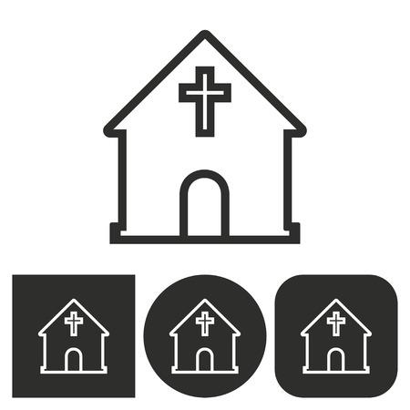 Chiesa - icone in bianco e nero. Illustrazione vettoriale.