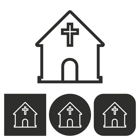 pews: Church - black and white icons. Vector illustration.