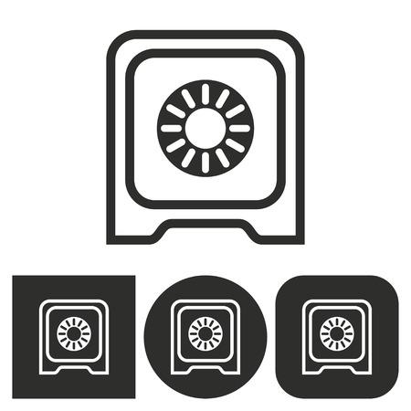secret codes: Safe - black and white icons. Vector illustration.