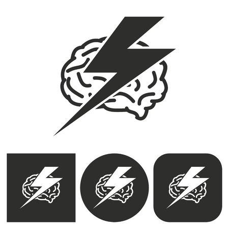 brainstorm: Brainstorm - black and white icons. Vector illustration. Illustration