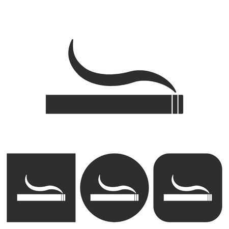 abstain: Smoke - black and white icons. Vector illustration.
