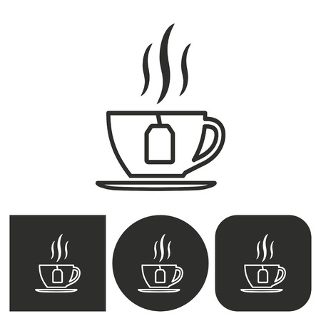 long drink: Coffee cup - black and white icons. Vector illustration.