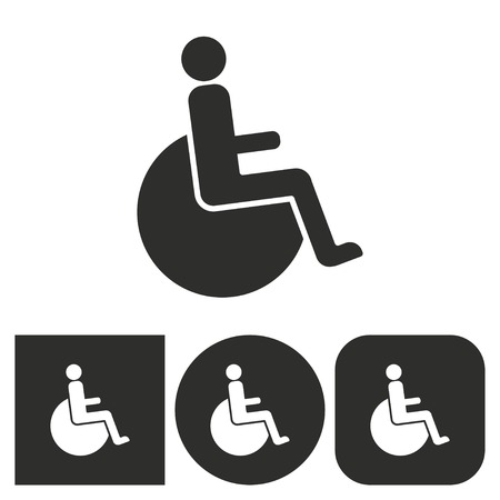 disabled access: Disabled - black and white icons. Vector illustration. Illustration