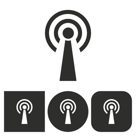 transmission: Communication tower - black and white icons. Vector illustration.
