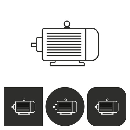 electromagnetic: Electric motor - black and white icons. Vector illustration.