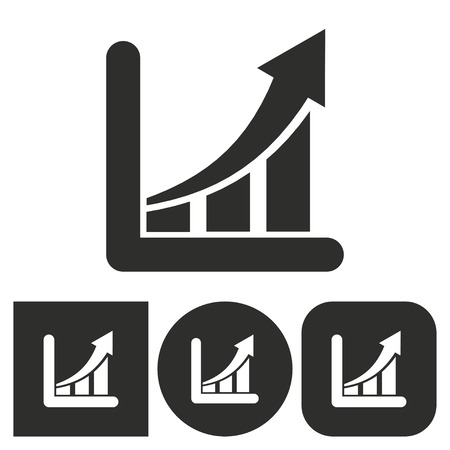 growth chart: Growth chart - black and white icons. Vector illustration.