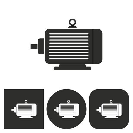 Moteur électrique - icônes en noir et blanc. Vector illustration.