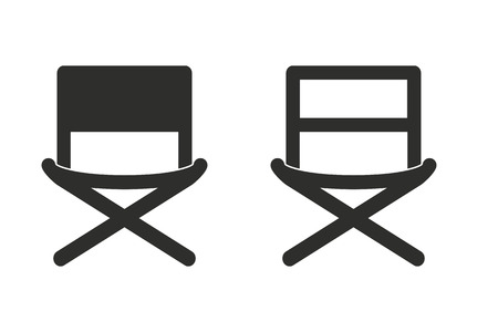 prop: Director chair vector icon. Illustration isolated on white background for graphic and web design.