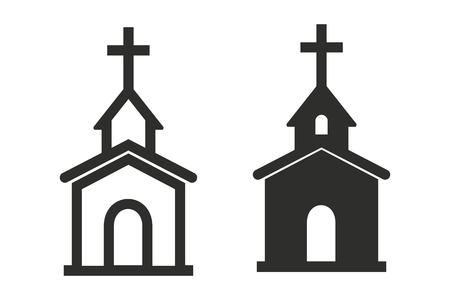 Church vector icon. Illustration isolated on white background for graphic and web design. Vettoriali