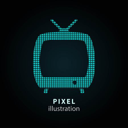 flatscreen: TV - pixel icon. Vector Illustration. Design logo element. Isolated on black background. It is easy to change to any color.