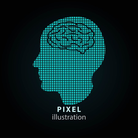 Brain - pixel icon. Vector Illustration. Design logo element. Isolated on black background. It is easy to change to any color.