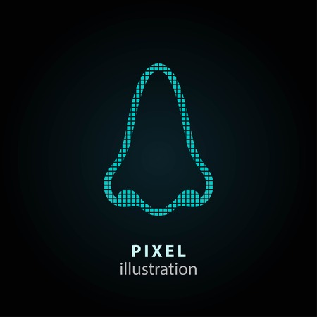 nostril: Nose - pixel icon. Vector Illustration. Design logo element. Isolated on black background. It is easy to change to any color. Illustration