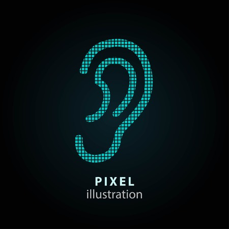 audible: Ear - pixel icon. Vector Illustration. Design logo element. Isolated on black background. It is easy to change to any color.