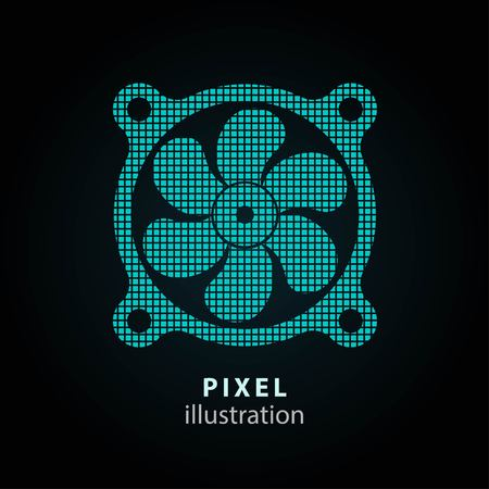color fan: Fan - pixel icon. Vector Illustration. Design logo element. Isolated on black background. It is easy to change to any color.