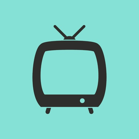 flatscreen: TV vector icon. Black illustration isolated on green background for graphic and web design.