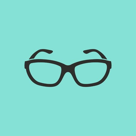 Glasses vector icon. Black illustration isolated on green background for graphic and web design.