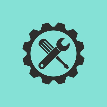 Tool vector icon. Black illustration isolated on green background for graphic and web design. Illustration