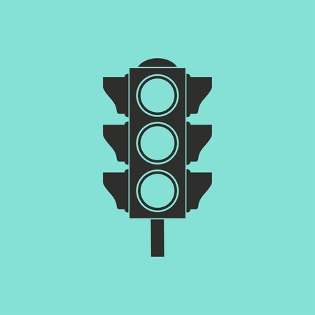 Traffic vector icon. Black illustration isolated on green background for graphic and web design.
