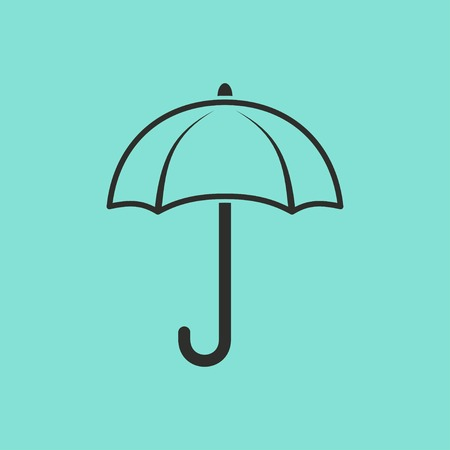 brolly: Umbrella vector icon. Black illustration isolated on green background for graphic and web design.