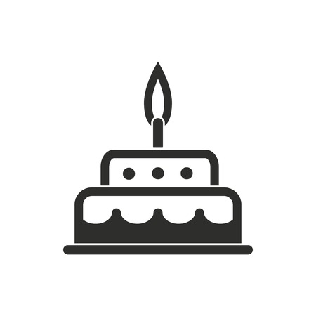 Cake vector icon. Black illustration isolated on white background for graphic and web design.