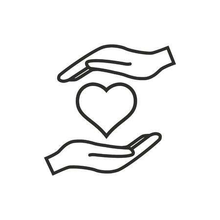 Heart in hand vector icon. Black illustration isolated on white background for graphic and web design.