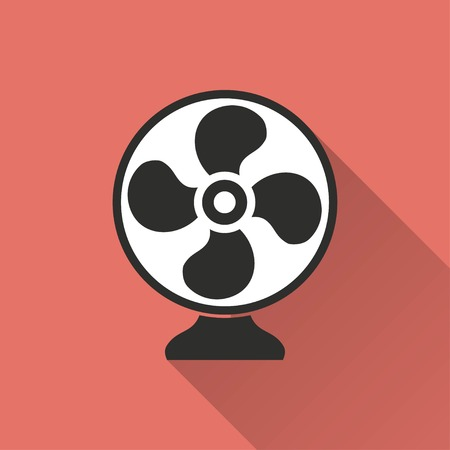 aeration: Fan vector icon with long shadow. IIllustration isolated on red background for graphic and web design.