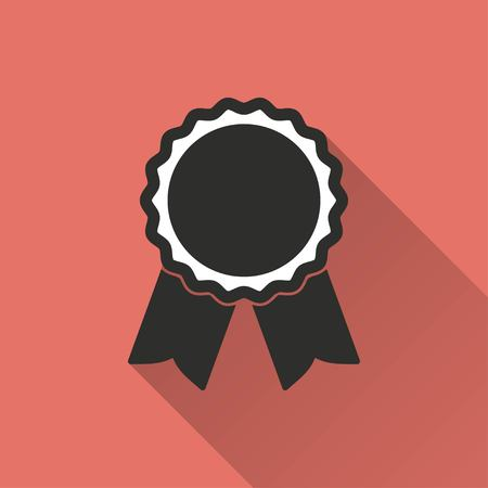 Award vector icon with long shadow. IIllustration isolated on red background for graphic and web design. Illustration