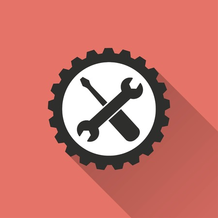 Tool vector icon with long shadow. IIllustration isolated on red background for graphic and web design.