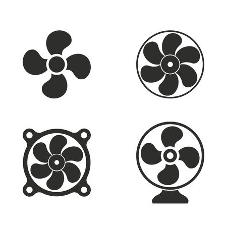 aeration: Fan vector icons set. Illustration isolated on white background for graphic and web design.