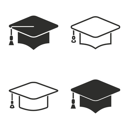 web cap: Graduation cap vector icons set. Illustration isolated on white background for graphic and web design.