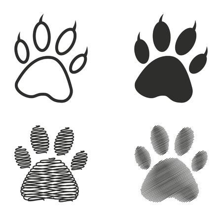 imprints: Paw vector icons set. Illustration isolated on white background for graphic and web design.
