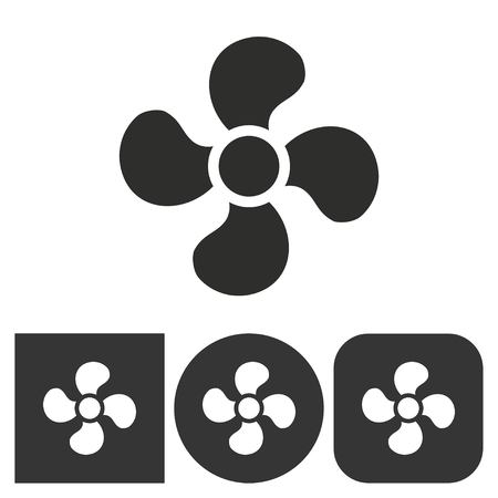 white fan: Fan - black and white icons. Vector illustration.